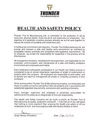Thunder Tool - Health and Safety Policy - updated 2019